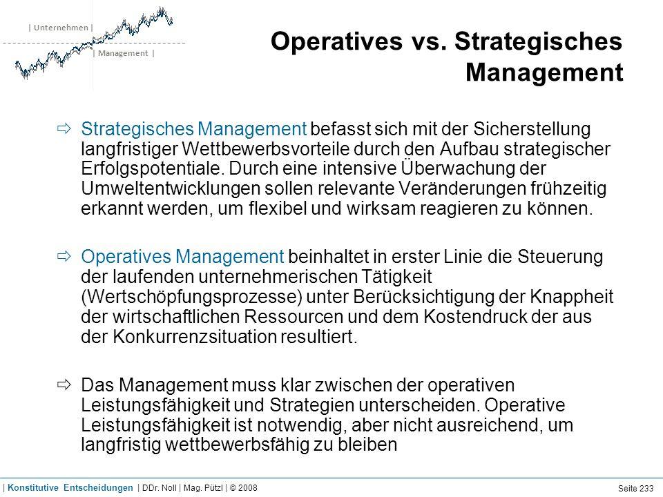 | Unternehmen | | Management | Operatives vs. Strategisches Management Strategisches Management befasst sich mit der Sicherstellung langfristiger Wett