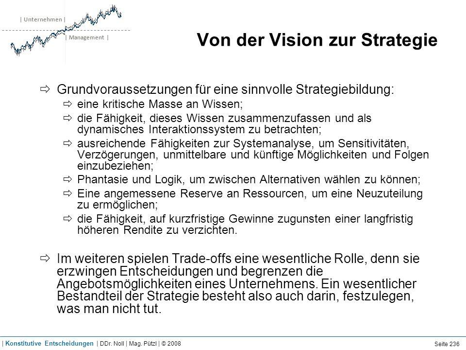 | Unternehmen | | Management | Von der Vision zur Strategie Grundvoraussetzungen für eine sinnvolle Strategiebildung: eine kritische Masse an Wissen;