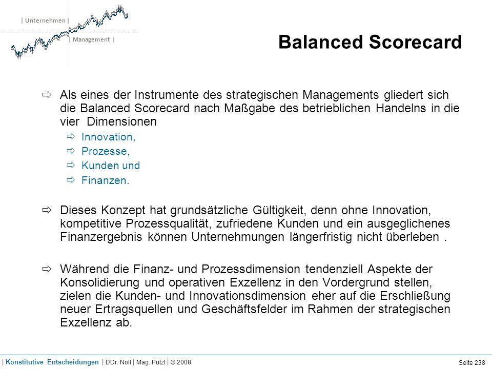 | Unternehmen | | Management | Balanced Scorecard Als eines der Instrumente des strategischen Managements gliedert sich die Balanced Scorecard nach Ma
