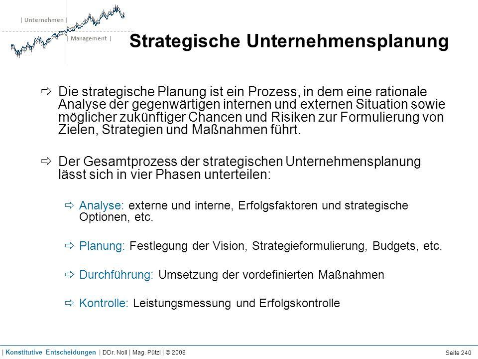 | Unternehmen | | Management | Strategische Unternehmensplanung Die strategische Planung ist ein Prozess, in dem eine rationale Analyse der gegenwärti