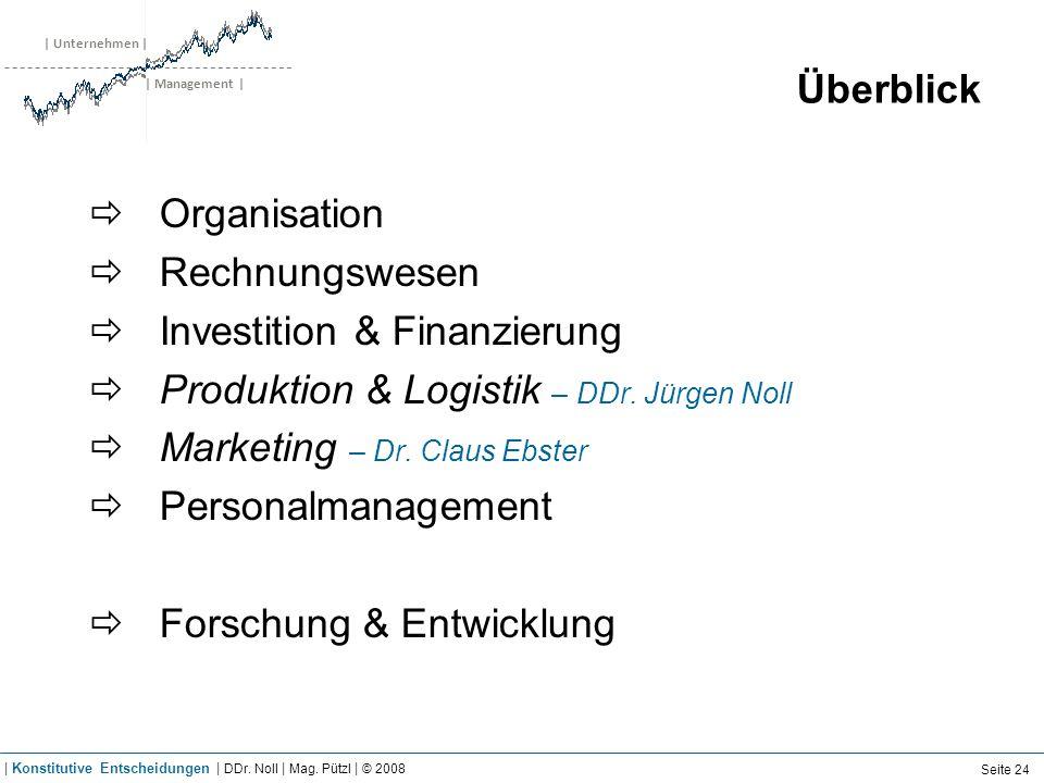 | Unternehmen | | Management | Überblick Organisation Rechnungswesen Investition & Finanzierung Produktion & Logistik – DDr. Jürgen Noll Marketing – D