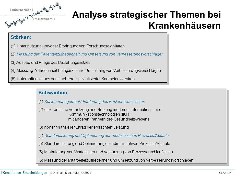 | Unternehmen | | Management | Analyse strategischer Themen bei Krankenhäusern Schwächen: (1) Kostenmanagement / Förderung des Kostenbewusstseins (2)