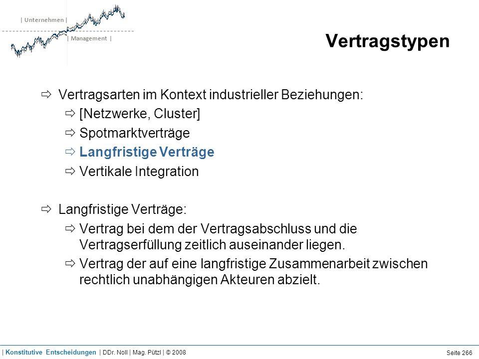 | Unternehmen | | Management | Vertragstypen Vertragsarten im Kontext industrieller Beziehungen: [Netzwerke, Cluster] Spotmarktverträge Langfristige V