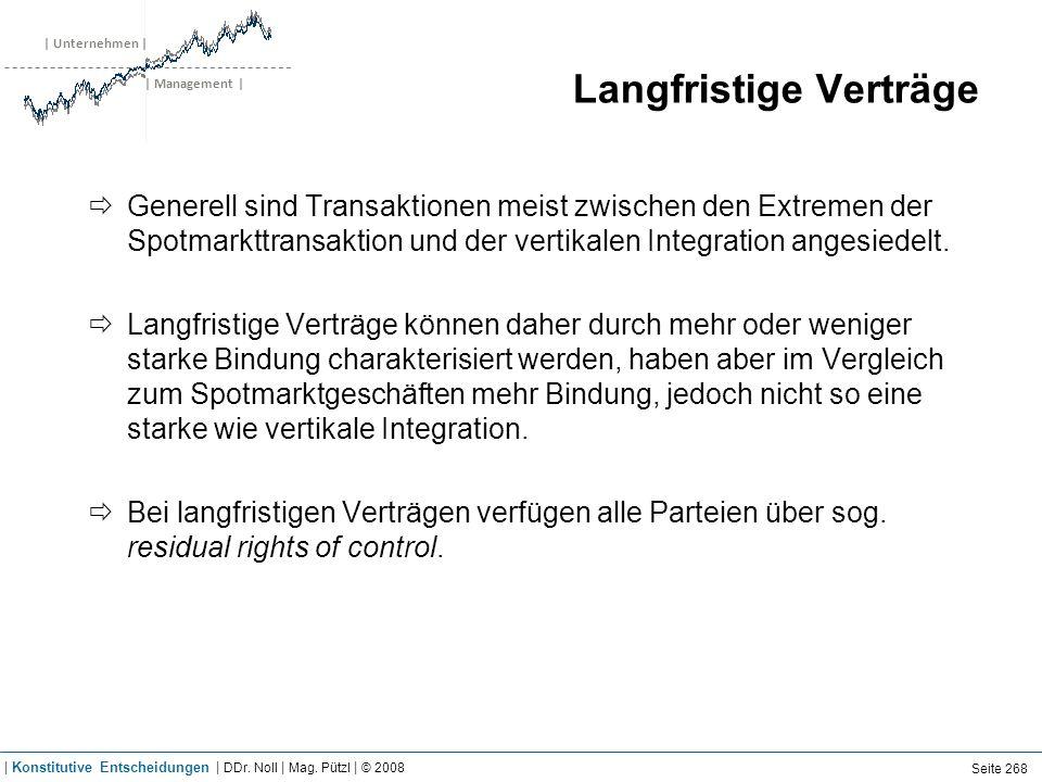| Unternehmen | | Management | Langfristige Verträge Generell sind Transaktionen meist zwischen den Extremen der Spotmarkttransaktion und der vertikal