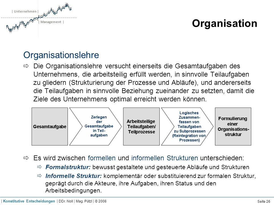 | Unternehmen | | Management | Organisation Organisationslehre Die Organisationslehre versucht einerseits die Gesamtaufgaben des Unternehmens, die arb