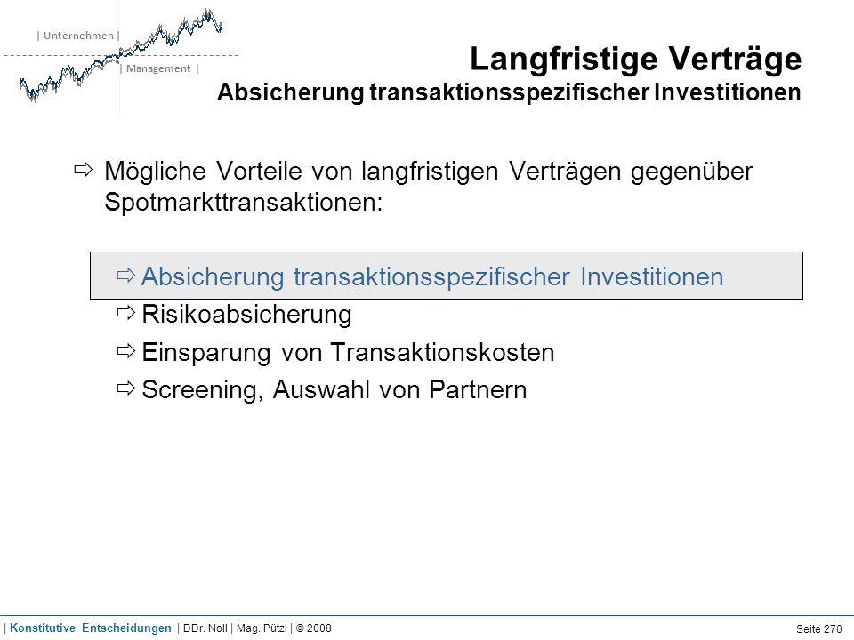 | Unternehmen | | Management | Langfristige Verträge Absicherung transaktionsspezifischer Investitionen Mögliche Vorteile von langfristigen Verträgen