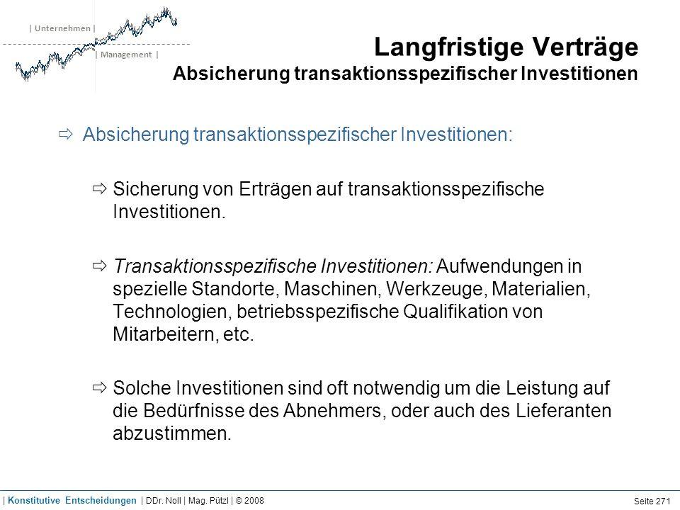 | Unternehmen | | Management | Langfristige Verträge Absicherung transaktionsspezifischer Investitionen Absicherung transaktionsspezifischer Investiti