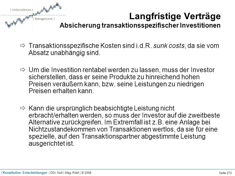 | Unternehmen | | Management | Langfristige Verträge Absicherung transaktionsspezifischer Investitionen Transaktionsspezifische Kosten sind i.d.R. sun