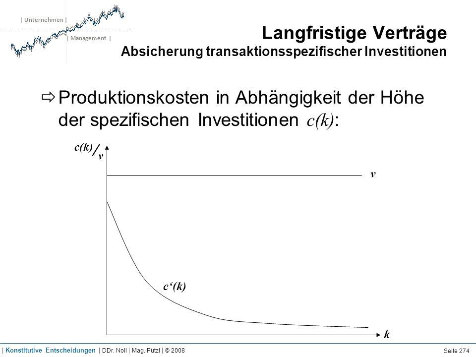 | Unternehmen | | Management | Langfristige Verträge Absicherung transaktionsspezifischer Investitionen Produktionskosten in Abhängigkeit der Höhe der