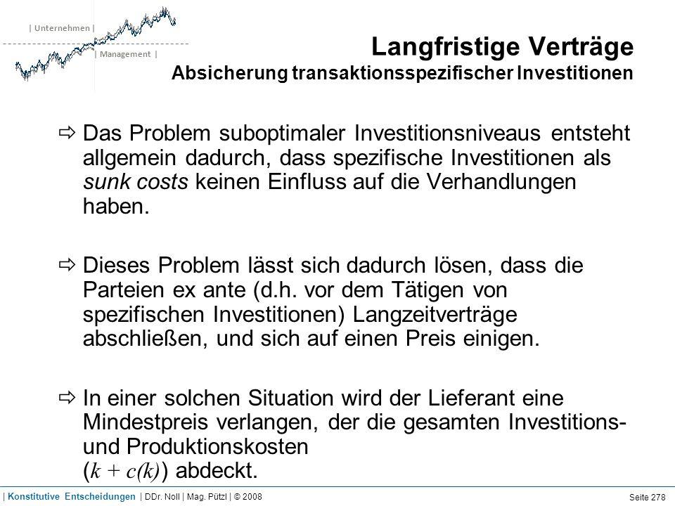 | Unternehmen | | Management | Langfristige Verträge Absicherung transaktionsspezifischer Investitionen Das Problem suboptimaler Investitionsniveaus e