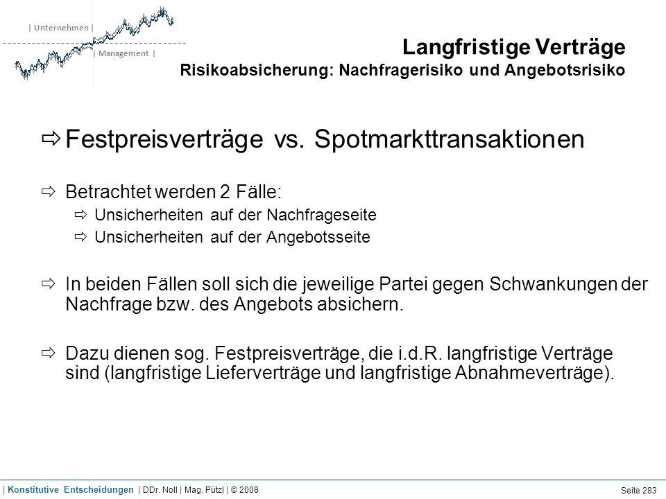 | Unternehmen | | Management | Langfristige Verträge Risikoabsicherung: Nachfragerisiko und Angebotsrisiko Festpreisverträge vs. Spotmarkttransaktione