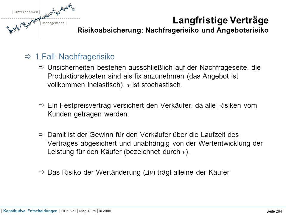 | Unternehmen | | Management | Langfristige Verträge Risikoabsicherung: Nachfragerisiko und Angebotsrisiko 1.Fall: Nachfragerisiko Unsicherheiten best
