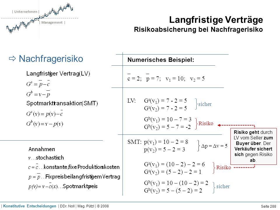 | Unternehmen | | Management | Langfristige Verträge Risikoabsicherung bei Nachfragerisiko Nachfragerisiko Numerisches Beispiel: _ _ c = 2; p = 7; v 1