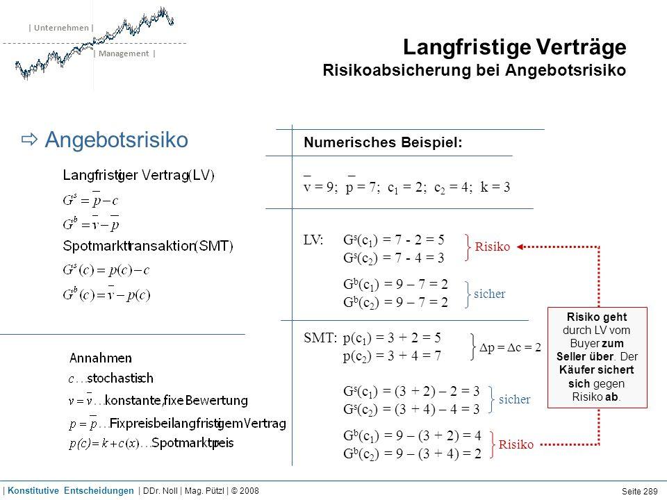 | Unternehmen | | Management | Langfristige Verträge Risikoabsicherung bei Angebotsrisiko Angebotsrisiko Numerisches Beispiel: _ _ v = 9; p = 7; c 1 =