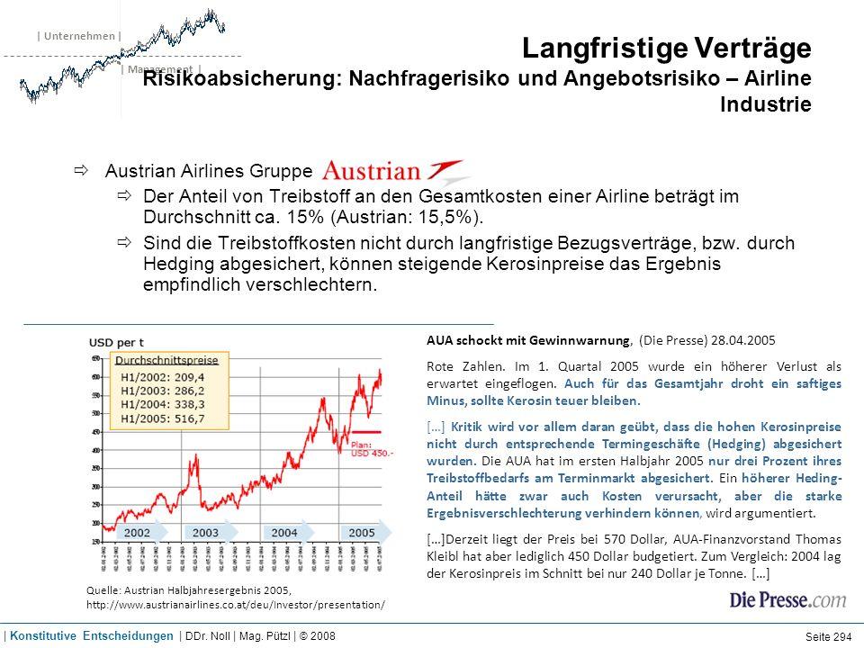 | Unternehmen | | Management | Langfristige Verträge Risikoabsicherung: Nachfragerisiko und Angebotsrisiko – Airline Industrie AUA schockt mit Gewinnw