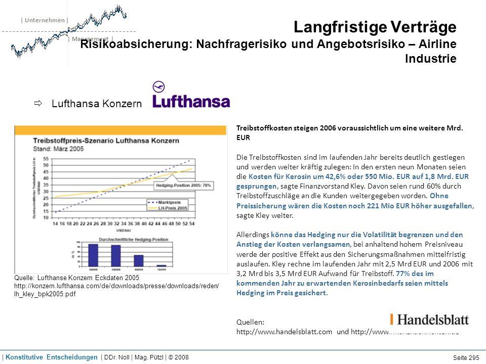 | Unternehmen | | Management | Langfristige Verträge Risikoabsicherung: Nachfragerisiko und Angebotsrisiko – Airline Industrie Lufthansa Konzern Quell