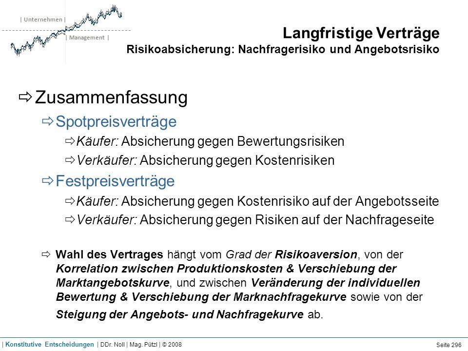 | Unternehmen | | Management | Langfristige Verträge Risikoabsicherung: Nachfragerisiko und Angebotsrisiko Zusammenfassung Spotpreisverträge Käufer: A