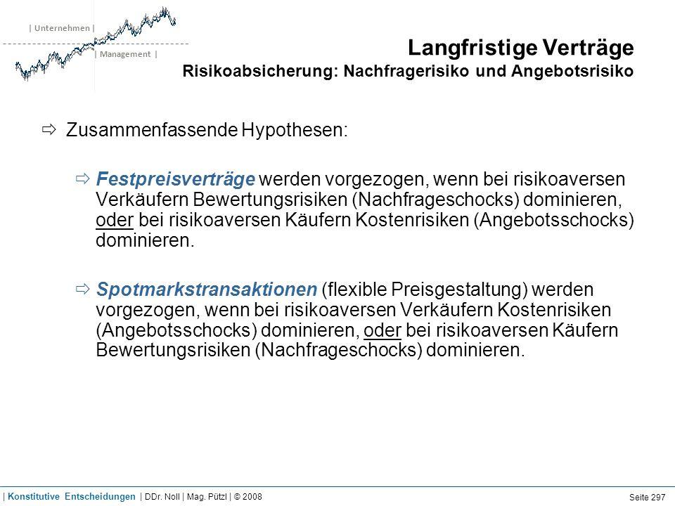 | Unternehmen | | Management | Langfristige Verträge Risikoabsicherung: Nachfragerisiko und Angebotsrisiko Zusammenfassende Hypothesen: Festpreisvertr