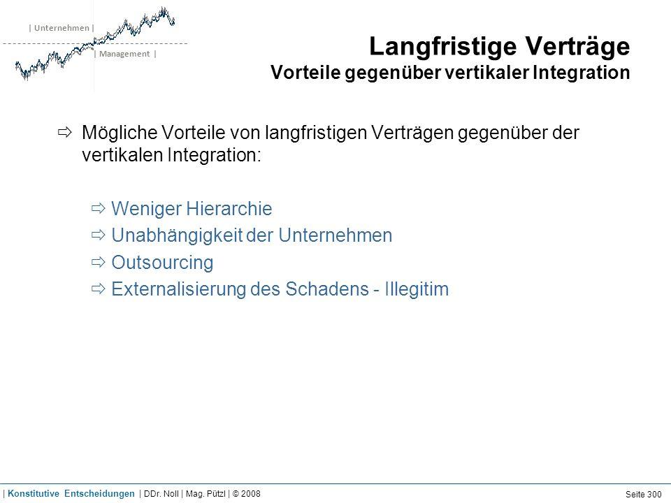 | Unternehmen | | Management | Langfristige Verträge Vorteile gegenüber vertikaler Integration Mögliche Vorteile von langfristigen Verträgen gegenüber