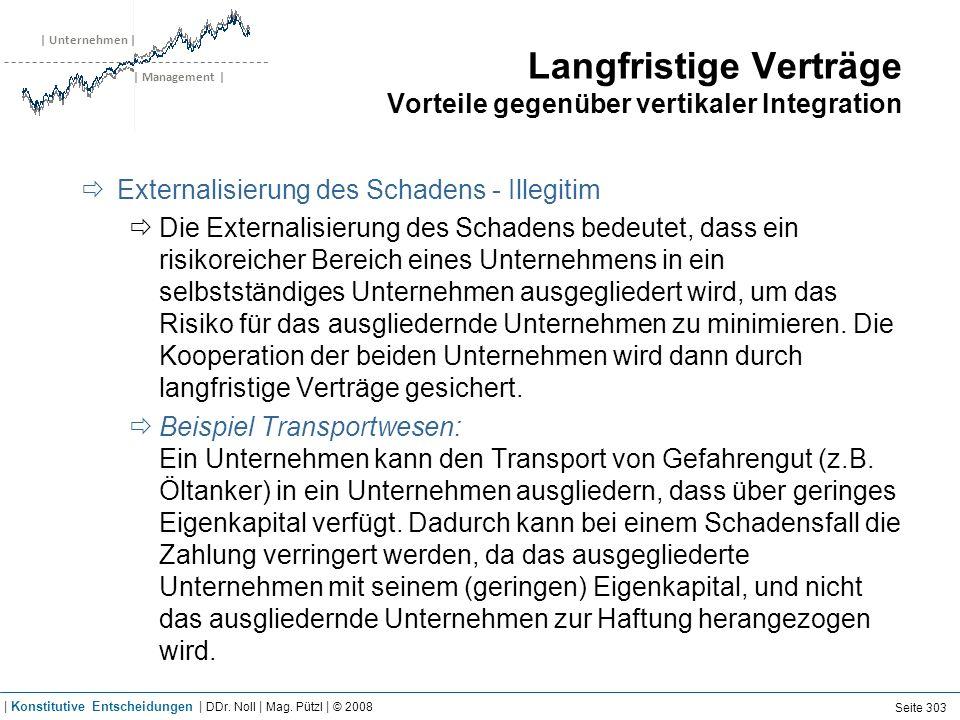 | Unternehmen | | Management | Langfristige Verträge Vorteile gegenüber vertikaler Integration Externalisierung des Schadens - Illegitim Die Externali