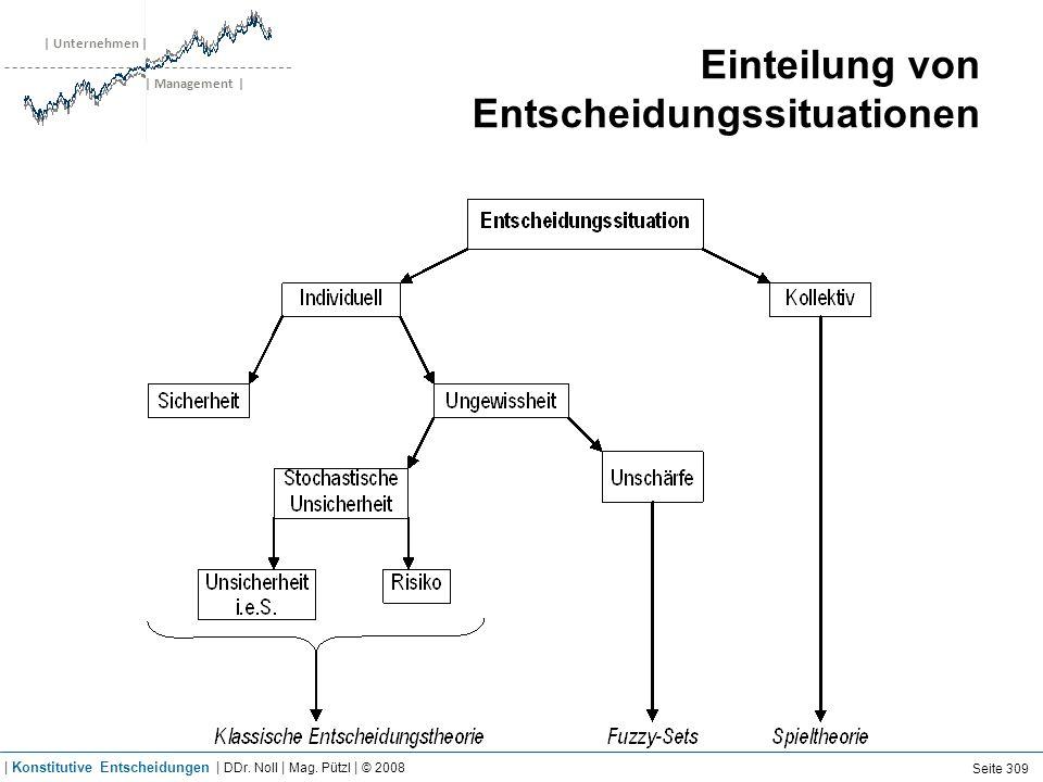 | Unternehmen | | Management | Einteilung von Entscheidungssituationen Seite 309 | Konstitutive Entscheidungen | DDr. Noll | Mag. Pützl | © 2008