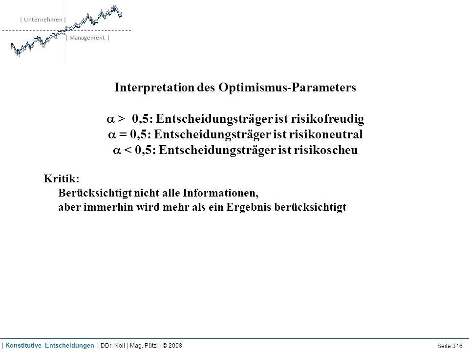 | Unternehmen | | Management | Interpretation des Optimismus-Parameters > 0,5: Entscheidungsträger ist risikofreudig = 0,5: Entscheidungsträger ist ri