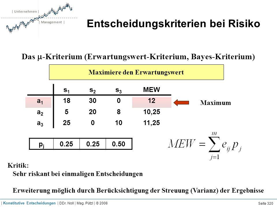 | Unternehmen | | Management | Entscheidungskriterien bei Risiko Das -Kriterium (Erwartungswert-Kriterium, Bayes-Kriterium) Maximiere den Erwartungswe