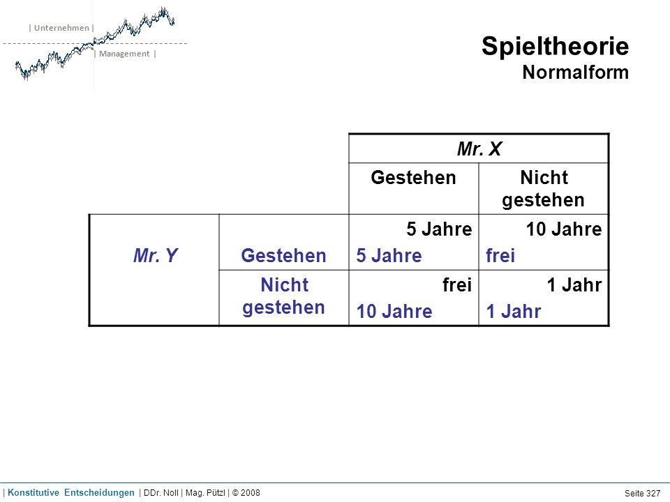 | Unternehmen | | Management | Spieltheorie Normalform Mr. X GestehenNicht gestehen Mr. YGestehen 5 Jahre 10 Jahre frei Nicht gestehen frei 10 Jahre 1