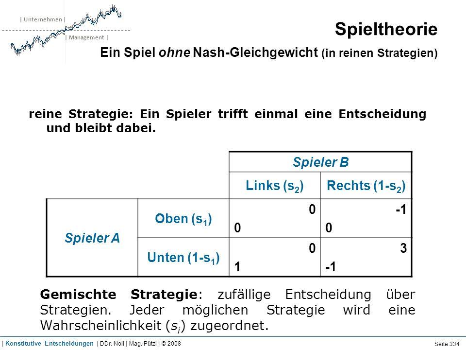 | Unternehmen | | Management | Spieler B Links (s 2 )Rechts (1-s 2 ) Spieler A Oben (s 1 ) 0000 0 Unten (1-s 1 ) 0101 3 Gemischte Strategie: zufällige