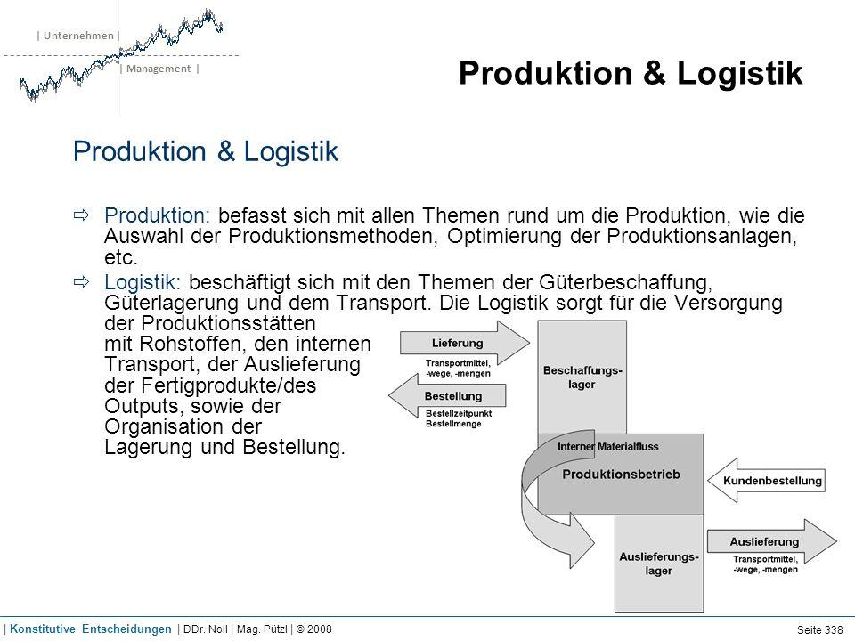 | Unternehmen | | Management | Produktion & Logistik Produktion: befasst sich mit allen Themen rund um die Produktion, wie die Auswahl der Produktions