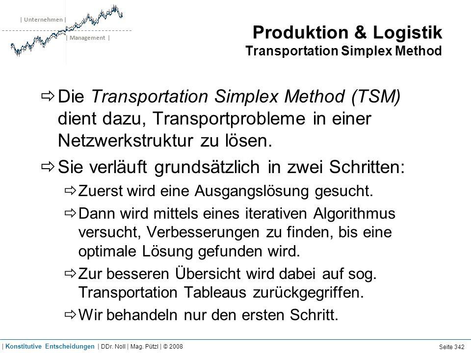 | Unternehmen | | Management | Produktion & Logistik Transportation Simplex Method Die Transportation Simplex Method (TSM) dient dazu, Transportproble
