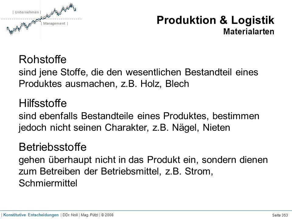 | Unternehmen | | Management | Produktion & Logistik Materialarten Rohstoffe sind jene Stoffe, die den wesentlichen Bestandteil eines Produktes ausmac
