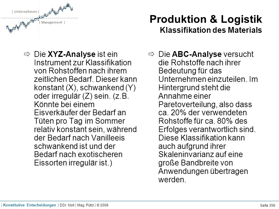 | Unternehmen | | Management | Produktion & Logistik Klassifikation des Materials Die XYZ-Analyse ist ein Instrument zur Klassifikation von Rohstoffen