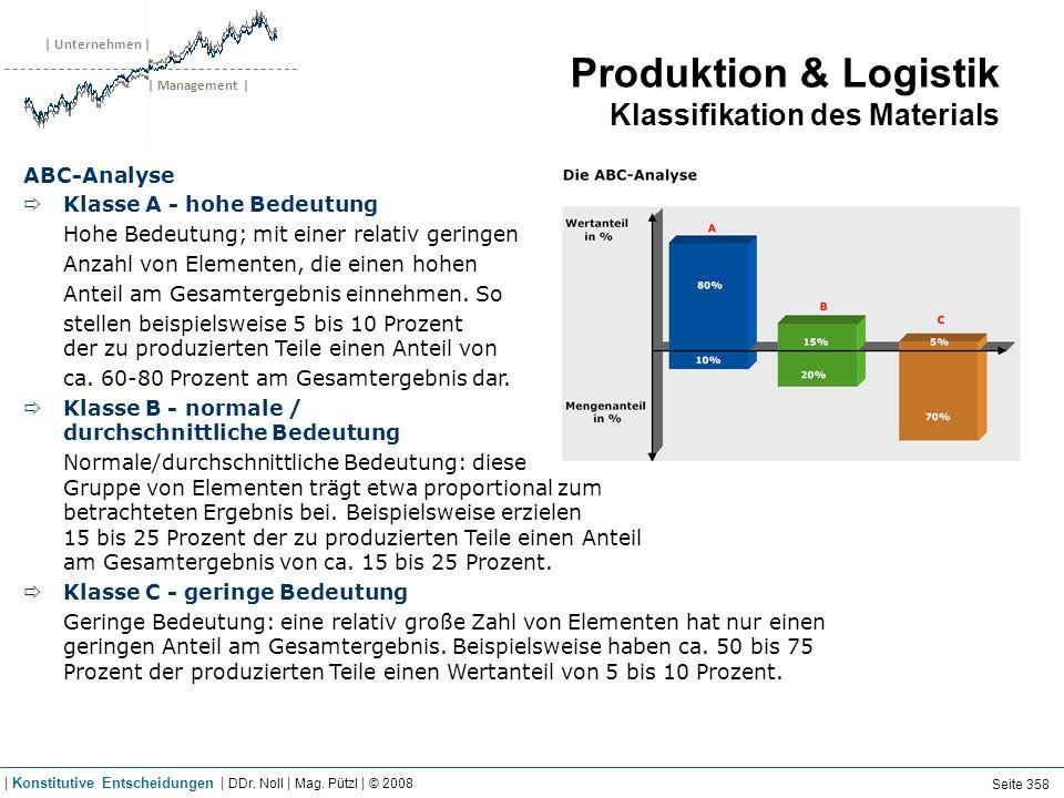| Unternehmen | | Management | Produktion & Logistik Klassifikation des Materials ABC-Analyse Klasse A - hohe Bedeutung Hohe Bedeutung; mit einer rela
