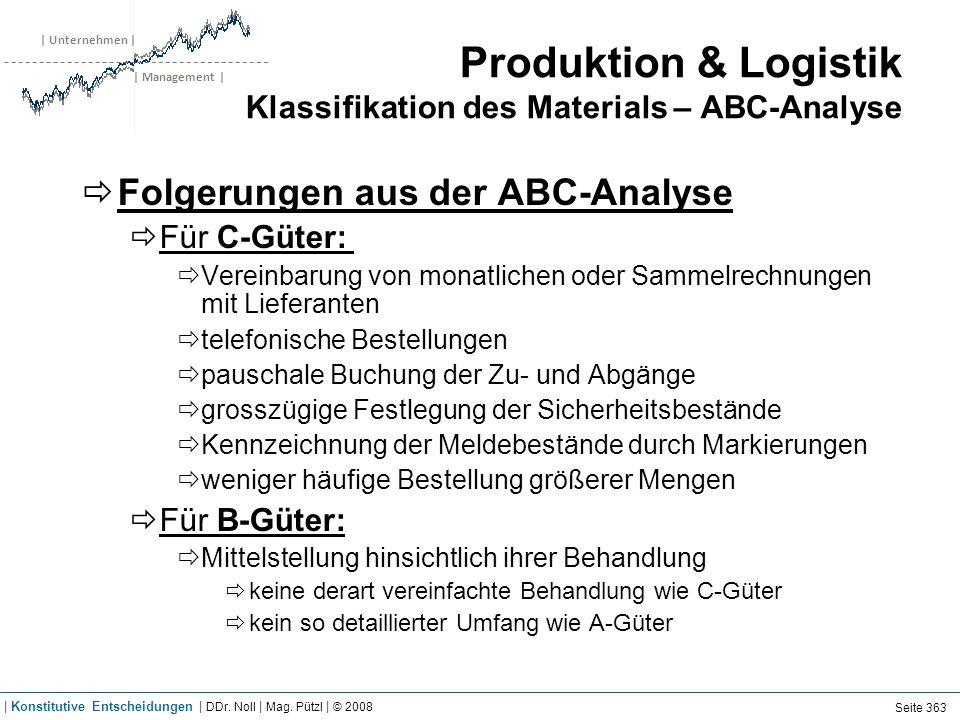 | Unternehmen | | Management | Produktion & Logistik Klassifikation des Materials – ABC-Analyse Folgerungen aus der ABC-Analyse Für C-Güter: Vereinbar
