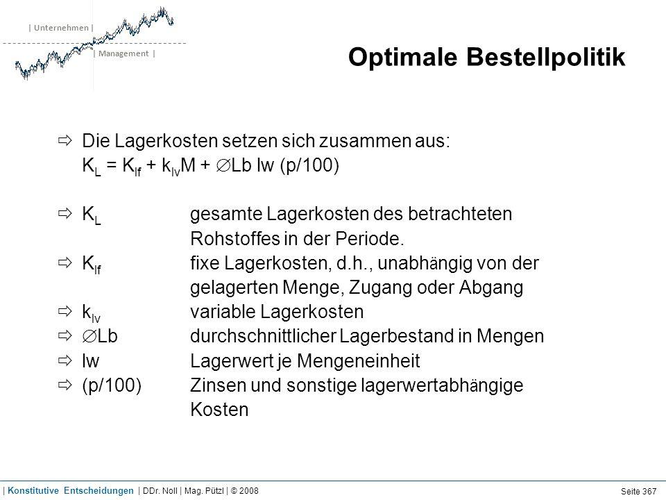| Unternehmen | | Management | Optimale Bestellpolitik Die Lagerkosten setzen sich zusammen aus: K L = K lf + k lv M + Lb lw (p/100) K L gesamte Lager