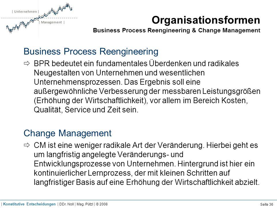 | Unternehmen | | Management | Organisationsformen Business Process Reengineering & Change Management Business Process Reengineering BPR bedeutet ein