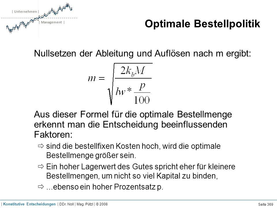 | Unternehmen | | Management | Optimale Bestellpolitik Nullsetzen der Ableitung und Auflösen nach m ergibt: Aus dieser Formel für die optimale Bestell