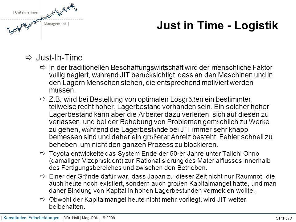 | Unternehmen | | Management | Just in Time - Logistik Just-In-Time In der traditionellen Beschaffungswirtschaft wird der menschliche Faktor v ö llig