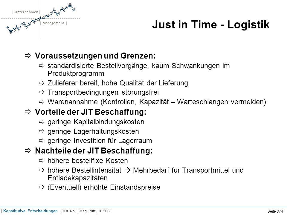| Unternehmen | | Management | Just in Time - Logistik Voraussetzungen und Grenzen: standardisierte Bestellvorgänge, kaum Schwankungen im Produktprogr