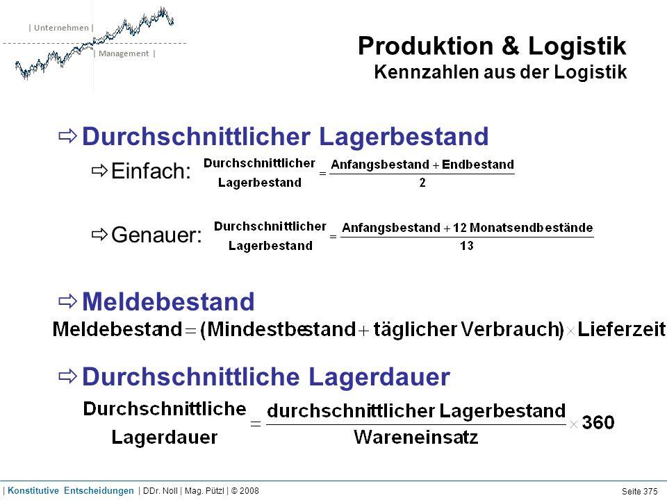 | Unternehmen | | Management | Produktion & Logistik Kennzahlen aus der Logistik Durchschnittlicher Lagerbestand Einfach: Genauer: Meldebestand Durchs