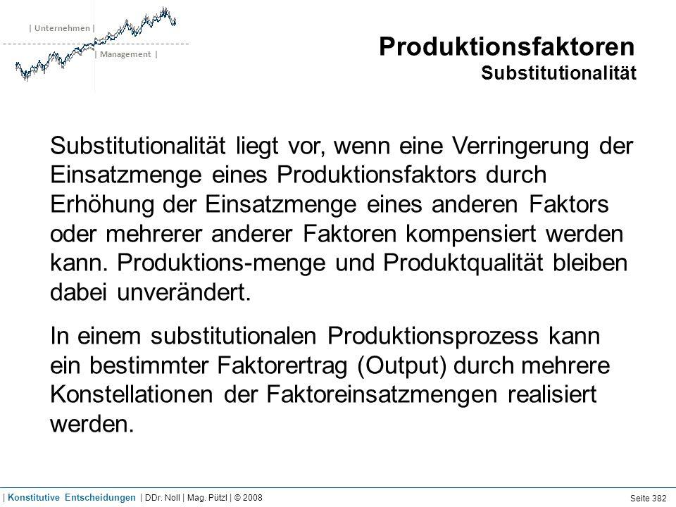 | Unternehmen | | Management | Produktionsfaktoren Substitutionalität Substitutionalität liegt vor, wenn eine Verringerung der Einsatzmenge eines Produktionsfaktors durch Erhöhung der Einsatzmenge eines anderen Faktors oder mehrerer anderer Faktoren kompensiert werden kann.