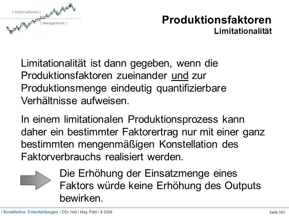 | Unternehmen | | Management | Produktionsfaktoren Limitationalität Limitationalität ist dann gegeben, wenn die Produktionsfaktoren zueinander und zur Produktionsmenge eindeutig quantifizierbare Verhältnisse aufweisen.