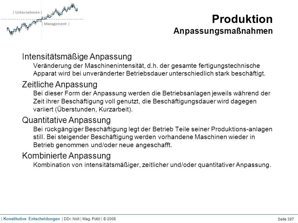 | Unternehmen | | Management | Produktion Anpassungsmaßnahmen Intensitätsmäßige Anpassung Veränderung der Maschinenintensität, d.h.