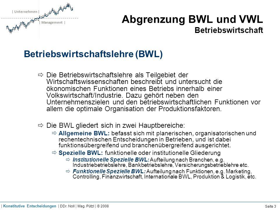 | Unternehmen | | Management | Abgrenzung BWL und VWL Betriebswirtschaft Betriebswirtschaftslehre (BWL) Die Betriebswirtschaftslehre als Teilgebiet de