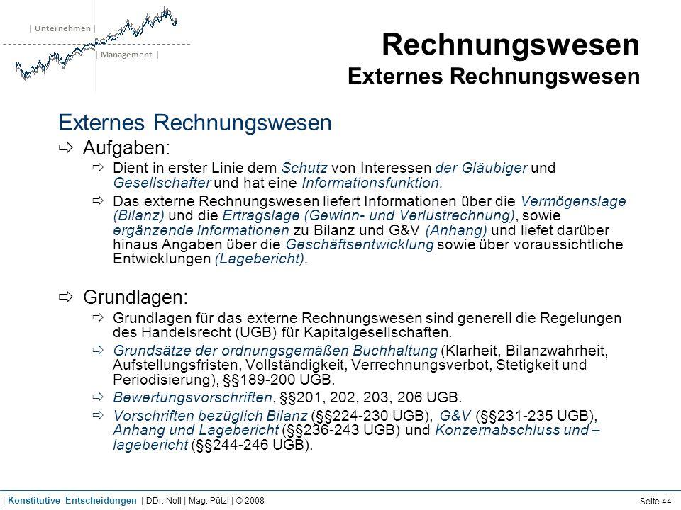 | Unternehmen | | Management | Rechnungswesen Externes Rechnungswesen Externes Rechnungswesen Aufgaben: Dient in erster Linie dem Schutz von Interesse