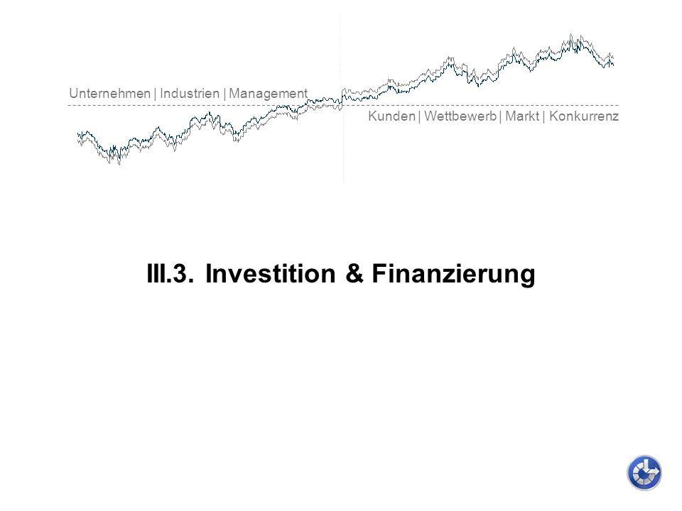 Unternehmen | Industrien | Management Kunden | Wettbewerb | Markt | Konkurrenz III.3. Investition & Finanzierung