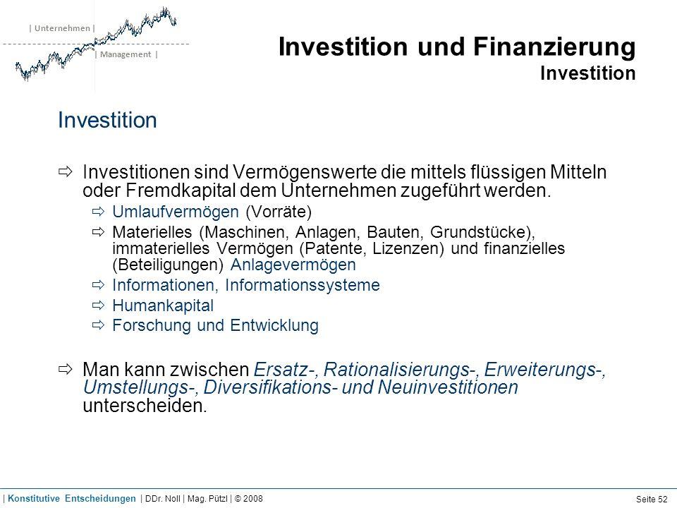 | Unternehmen | | Management | Investition und Finanzierung Investition Investition Investitionen sind Vermögenswerte die mittels flüssigen Mitteln od