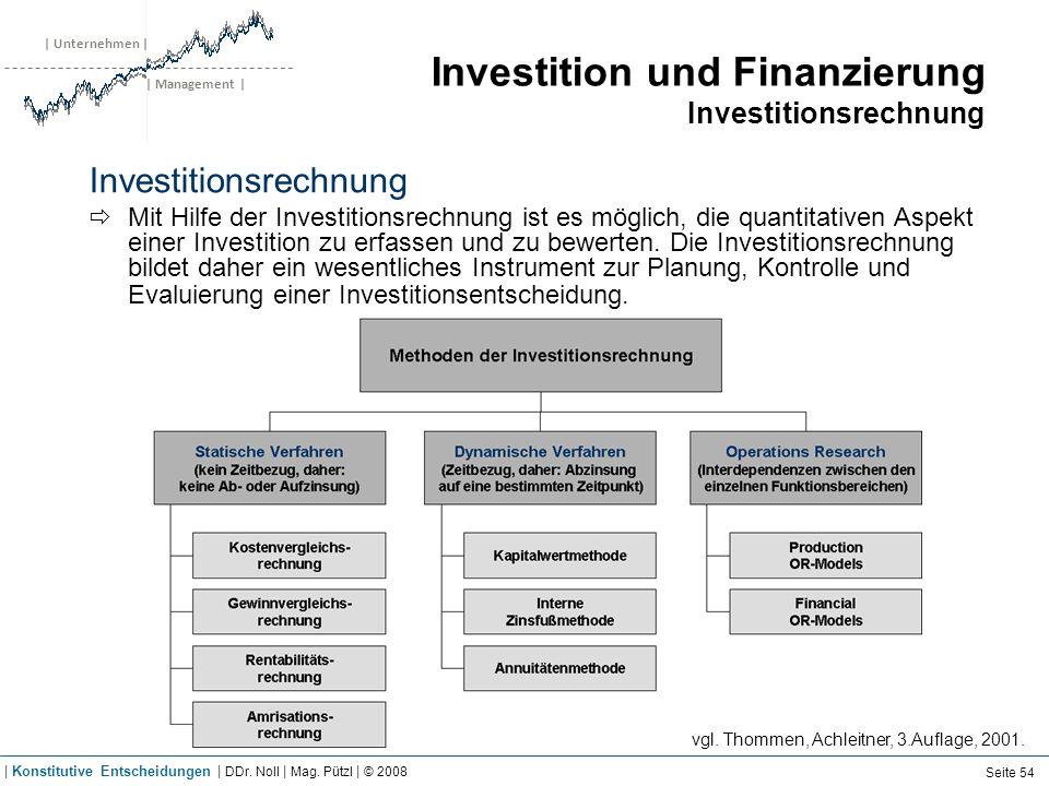 | Unternehmen | | Management | Investition und Finanzierung Investitionsrechnung Investitionsrechnung Mit Hilfe der Investitionsrechnung ist es möglic
