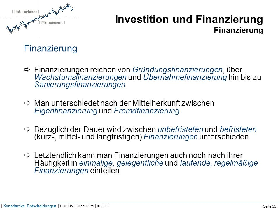 | Unternehmen | | Management | Investition und Finanzierung Finanzierung Finanzierung Finanzierungen reichen von Gründungsfinanzierungen, über Wachstu